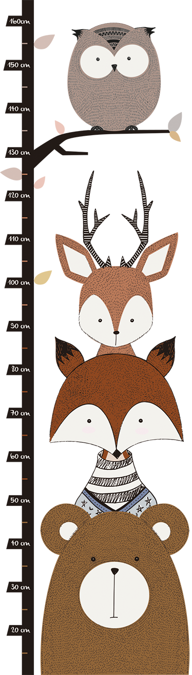TenStickers. Woodland Animals Height Chart Sticker. Does your child love animals? This height chart wall sticker is perfect for decorating their bedrooms in a way that they will love!