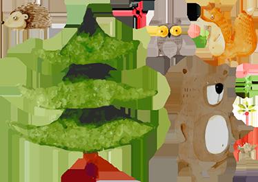 Tenstickers. Skog djur vägg klistermärke. Forrest väggkonst klistermärke för barn - dina barn kommer att älska denna konstnärliga illustration av skogsdjur för deras sovrum.