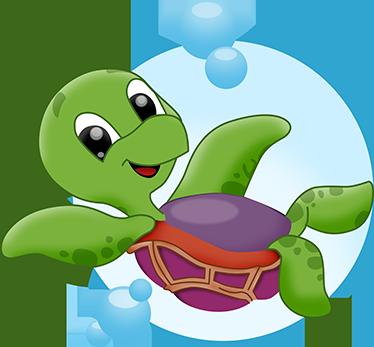 TenStickers. Vinil decorativo tartaruga bebé. Vinil decorativo com uma ilustração de uma tartaruga alegre nadando no mar. Adesivo de parede para decoração de interiores.
