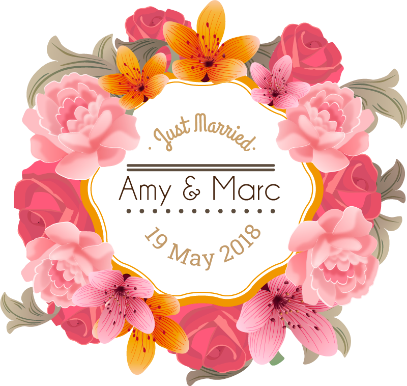 Personalised Floral Frame Wedding Sticker. Wall color