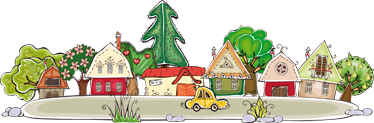 TENSTICKERS. 小さな町のステッカー. あなたの子供の部屋のための小さな町の素晴らしい装飾ステッカー!プレイルームを飾るのに最適なデカール。
