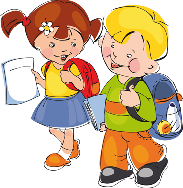 TenVinilo. Vinilo infantil niños camino al colegio. Una pareja de niños pequeños dirigiéndose divertidos al colegio. Adhesivo de un dibujo alegre para animar a tus hijos a estudiar.