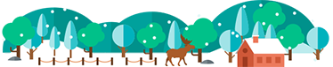 TenStickers. Snowy Forest Decorative Wall Sticker. This beautiful wall vinyl showing a snowy forest scene complete with a cottage and deer is the ideal way to brighten up any blank wall!