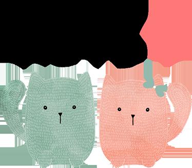 """TenStickers. Vinil decorativo par de gatos love. Vinil decorativo de uma ilustração de um par de gatos, um rosa e o outro verde, com o texto """"love"""" (amor) em cima deles."""