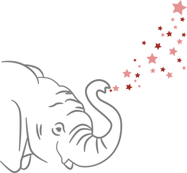 TenVinilo. Vinilo elefante trompa estrellas. Vinilos de elefantes ideales para personalizar las paredes del cuarto de los más pequeños con su animal preferido.