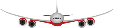 TenStickers. Decorative Airliner Vinyl Sticker. Aeroplane Sticker showing a white and red plane fly horizontal.