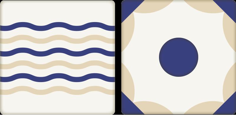 TenStickers. Dekoracija stenske nalepke za španske ploščice. Ta španska oblika ploščic je kot nalašč za dodajanje dekoracije v vašo kuhinjo ali kopalnico. Nalepka španske stenske ploščice ustvarja navtično vzdušje.