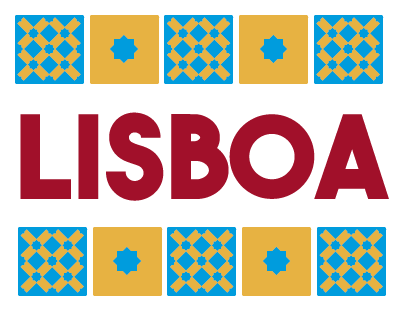 TenVinilo. Vinilo decorativo Lisboa original. Vinilos decorativos de Portugal con una colorida ilustración en la que aparece una sintetización de azulejos típicos del lugar.
