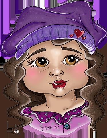 TenStickers. Muursticker Meisje met Muts. Muursticker Meisje met een paars mutsje. Dit schattige in het paars geklede meisje is een aanwinst voor op elke muur in de kinderkamer.