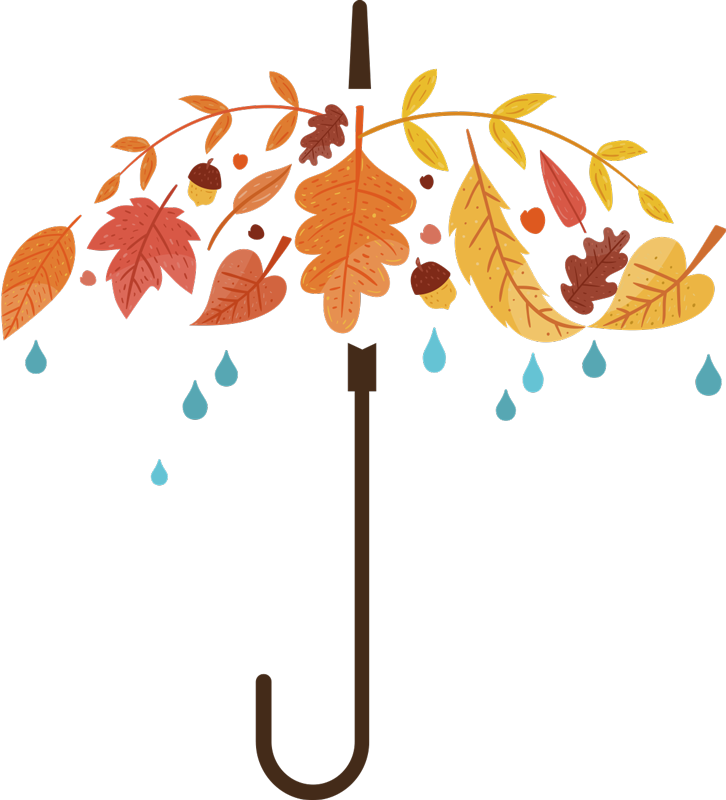 TenStickers. Autumn Umbrella Wall Sticker. The wall sticker consists of an umbrella made from autumn leaves; under the umbrella are some rain drops. This sticker is decorated in autumn colours and gives your home a playful and modern ambiance.