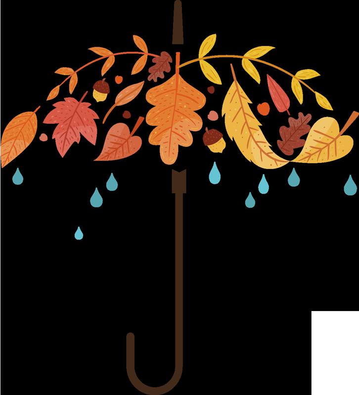 TenVinilo. Vinilo decorativo paraguas otoño. Vinilos para decoración perfectos para decorar tu casa este otoño, ideales también para tiendas.