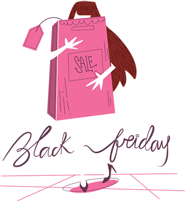 TenStickers. Little Girl Shopping Black Friday Window Sticker. The window sticker consists of a girl disappearing behind a huge shopping bag labelled 'Sale'. Her legs are surrounded by the black Friday sign.