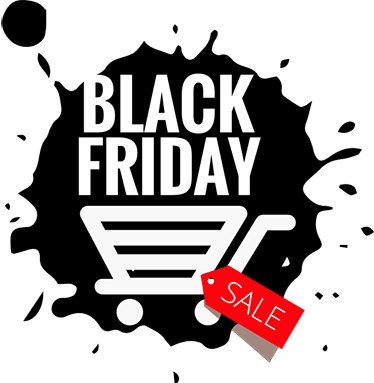 TenStickers. Black Friday Troll. The wall sticker consists of a black paint patch with the lettering Black Friday and a shopping cart, next to it is a price tag with the label Sale