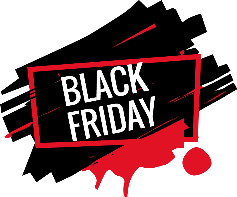 TenStickers. Modern Black Friday Sticker. The window sticker consists of a red colour patch that is mixed with black, in the foreground stands a large print with the letters 'Black Friday'.