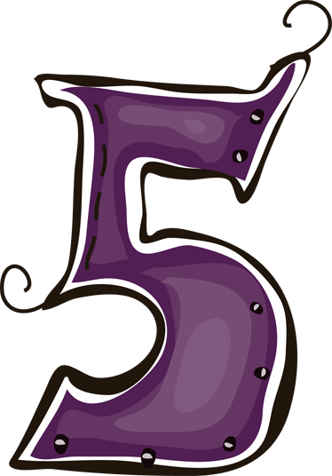 TenStickers. Number 5 Sticker. Decorative sticker of number 5 in purple. Original decal from our exclusive collection of number wall stickers.