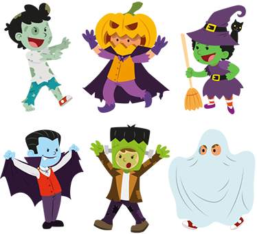 TenStickers. Little Halloween Characters. Get ready for Halloween this year with our range of our spooky stickers. This wall sticker consists of baby versions of scary monsters