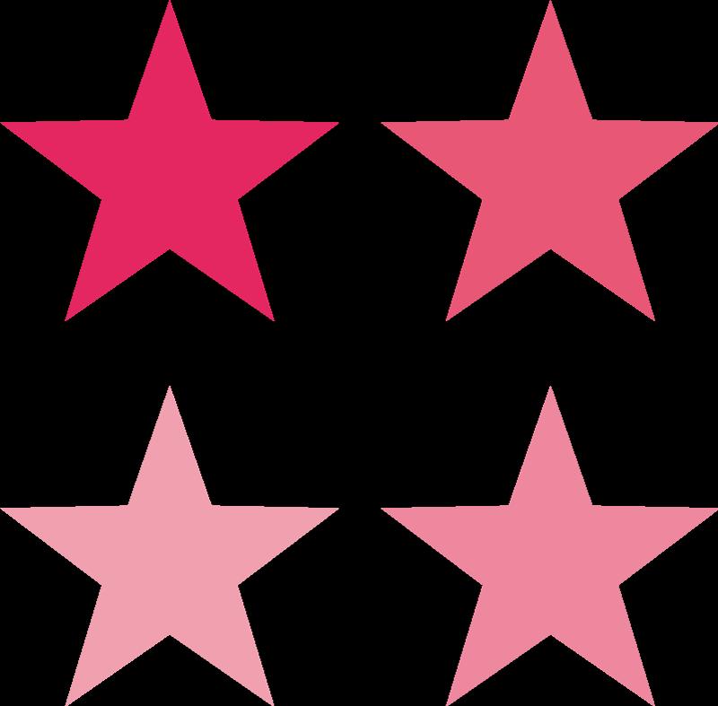TenStickers. Set di adesivi di stelle rosa. Set di stickers di stelle tonalità rosa con le quali creare un cielo stellato su qualsiasi parete della tua casa