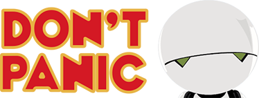 """TenStickers. 机器人不要惊慌电影院贴花. 由机器人编辑的装饰性电影主题墙贴纸设计,文字为""""不要惊慌""""。它可根据需要提供任何尺寸。"""