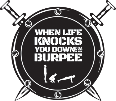 TenStickers. sticker burpee bouclier. sticker when life knocks you down do a burpee. Applicable sur toutes surfaces.