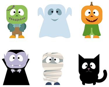 TenStickers. 万圣节贴纸. 贴纸集包括一个年轻人,科学怪人,鬼,猫,南瓜,吸血鬼和木乃伊。