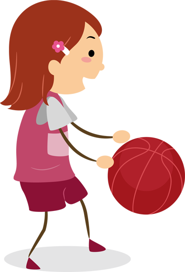 TenStickers. Girl with Basketball Kids Decal. A lovely original sticker of a little girl about to score and win the match! A brilliant wall decal for your daughter's bedroom.