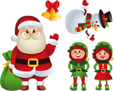 TenStickers. Christmas Wall Stickers. Christmas Wall Sticker. This cheerful wall decoration consists of Santa Claus, male and female elves, snowman and Christmas bells.