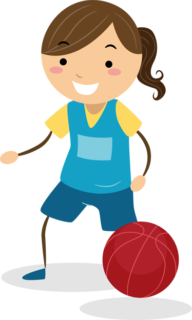 TenStickers. Girl Basketball Kids Sticker. A vinyl decal of a little girl happily playing basketball. An original sticker suitable for all areas where children play and spend time.