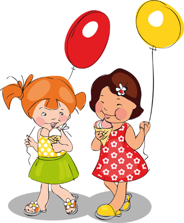 TenStickers. Girls, Ballons & Ice Cream Kids Sticker. Children Stickers - Two girls enjoying their ice cream while holding balloons. Perfect girl bedroom sticker or business sticker for ice cream shops.