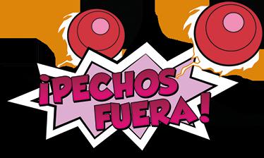 """TenVinilo. Pegatina Mazinger Z pechos fuera. Vinilos Mazinger Z, con una original ilustración tipo cómic en la que aparece el texto """"pechos fuera""""."""