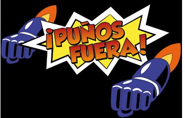 """TenVinilo. Pegatinas Mazinger Z puños fuera. Pegatinas Mazinger Z, con una original ilustración estilo cómic en la que aparece el texto """"puños fuera""""."""