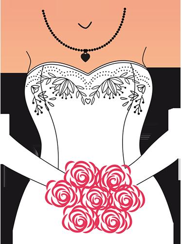 TenStickers. 신부 벽 스티커. 부케와 웨딩 드레스의 벽 데칼, 신혼 부부 또는 약혼 커플을위한 아름다운 벽 장식