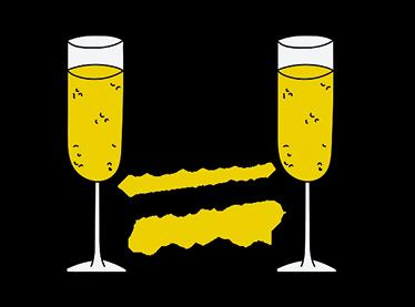 TenVinilo. Vinilo vivan los novios personalizable. Vinilos bodas personalizables con el dibujo de dos copas de champagne a punto de realizar el brindis.