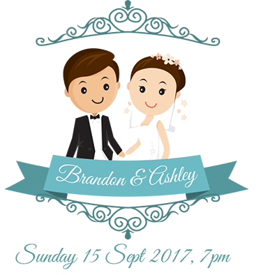 TenStickers. Customisable Bride And Groom Wall Sticker. This wall sticker consists of a cartoon wedding couple with name and wedding date, which are adapted individually to the customers wants.