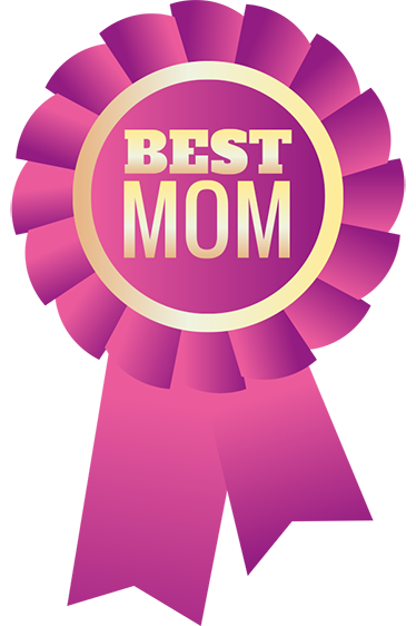 "TenStickers. Best Mom Wall Sticker. This adhesive film consists of the ""Best Mom"" ​​inscription on a pink badge."