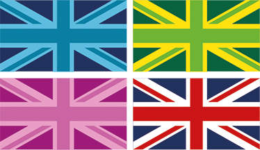 TenStickers. Union Jack Wall Stickers. The wall sticker consists of 4 Union jacks with different filters.