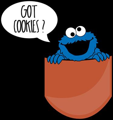 TenVinilo. Adhesivo bolsillo got cookies. Pegatinas infantiles del monstruo más famoso de Barrio Sésamo, asomándose de un bolsillo y preguntando en inglés si tenemos galletas.