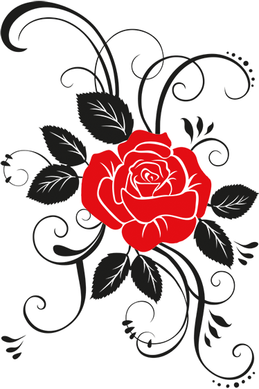 TenStickers. 优雅的玫瑰墙贴. 墙上的贴纸由被玫瑰花瓣包围的红色玫瑰花组成。