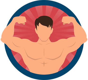 TenStickers. Muscle Man Wall Sticker. The wall sticker consists of a circle with the image of a young man showing his muscles.