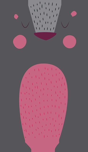 TenStickers. Muursticker grijze beer. Muursticker met een grijze beer met een roze buik en roze wangetjes, een mooie wanddecoratie voor kinderen en dierenvrienden.