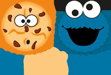 TenStickers. Muursticker Cookie monster en koekje. Muursticker Cookie monster en koekje, een mooie wanddecoratie van een eeuwige vriendschap tussen deze kindervriend van Sesamstraat.
