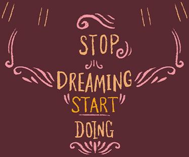 TenStickers. Muursticker Fitness Stop Dreaming. Muursticker Fitness met de inspirerende stekst ¨Stop Dreaming Start Doing¨, een mooie wanddecoratie voor echte sporter.