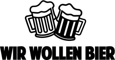 TenStickers. Muursticker Wir Wollen Bier. Muursticker Wir Wollen Bier, een leuke wanddecoratie met Duitse tekst voor wij willen bier met twee schuimende bierglazen boven de tekst.