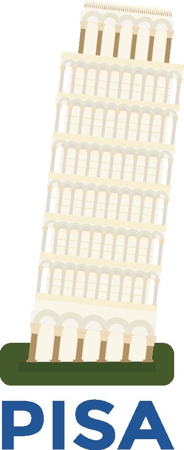 TenVinilo. Adhesivo dibujo torre de pisa. Vinilos de la Torre inclinada de Pisa para rememorar momentos vacacionales pasados o para aquellos que quieren tener un trocito de Italia en casa.