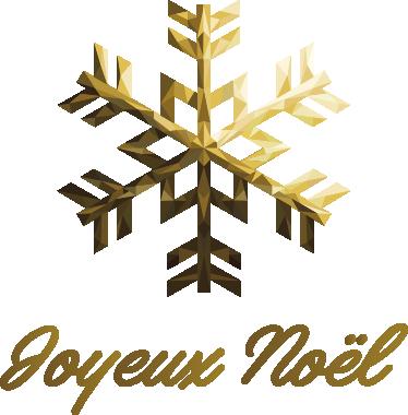 TenStickers. Sticker Joyeux Noël flocon. Sticker représentant un flocon de neige doré avec le texte 'joyeux Noël' !