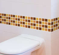 Brown Tones Bathroom Mosaic Vinyl