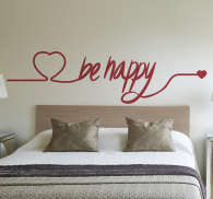 Be Happy Love Heart Decorative Wall Sticker