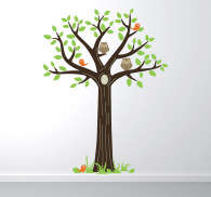 Sticker arbre hiboux