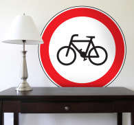 No Cycling Road Sign Sticker