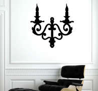 Autocollant mural illustration chandelier mural