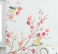 Sticker acquarel boom bloesems vogels